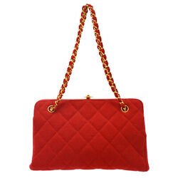 Quilted Chain Hand Tote Bag 4405692 Purse Red Cotton Leather 00219
