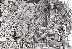 Aztec Dream By Mouse Lopez Mexican Indian Black And White Tattoo Canvas Art Print