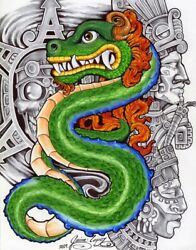 Green Dragon By Mouse Lopez Mexican Aztec Indian Tattoo Canvas Wall Art Print
