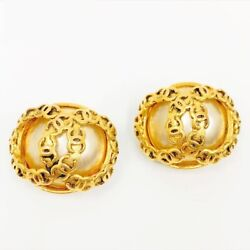 Earrings Coco Mark Pearl Gp Gold 94 / P 2.5 Cm 3 Cm With Box