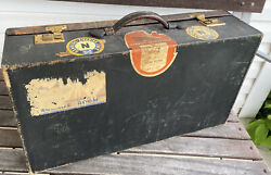 """Vintage Leather 22"""" Suitcase W Labels Brown Antique Luggage Decor By """"cross"""""""