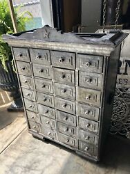 Antique French Zinc Apothecary Chest, 28 Drawers