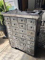 Antique French Zinc Apothecary Chest 28 Drawers