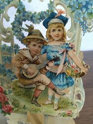 Antique Victorian Die Cut Stand Up Fold Out Valentines Day Card. Germany A50