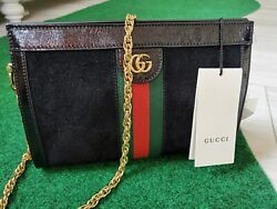 Black Suede And Patent Leather Ophidia Small Shoulder Bag