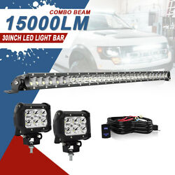 30in 150w Led Work Light Bar Offroad Spot Flood Combo Ford 4x4wd Roof Atv Suv