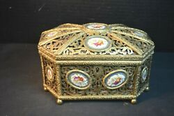 Antique Boulle Jewelry Box With Sevres Porcelain Medallions