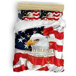 Size 4 Pieces Bed Sheets Set Usa Flag American Patriotic King Flag-028upa9270