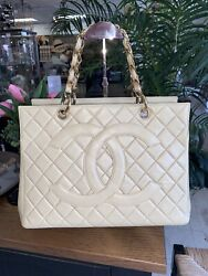 Vintage Beige Quilted Leather Shopper Tote