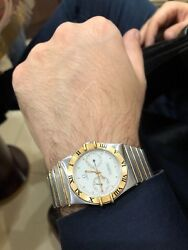 Omega Constellation Double 18k Yellow Gold / Stainless Steel Quartz Mens Watch