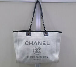 Deauville Mm Shoulder Bag Tote Gray Canvas Cc Logo With Authenticity Card