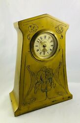 Antique Arts And Crafts Minxie Germany Brass Desk Clock Engraved Lily Flower