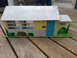 T. Cohn Inc. Tin Bungalow Dollhouse With Accesories