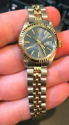 Rolex Ladies 6917 26mm Jubilee Band Date Acrylic Crystal Oyster Perpetual Blue