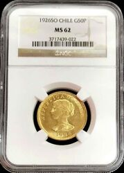 1926 So Gold Chile 50 Pesos Condor Coin Ngc Mint State 62