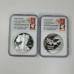 2020 End Of World War 2 V75 75th Anniversary Silver Proof And Medal Ngc Pf70 Lot
