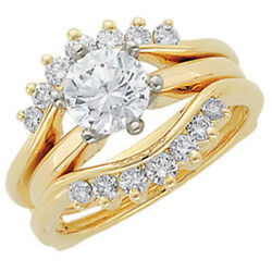 14k Yellow Gold .50ct Real Diamond Solitaire Ring Guard Wrap Enhancer