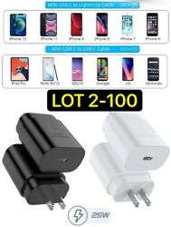 Fast Charger Pd Type C Wall Travel Plug For Samsung Galaxy S21/ultra Iphone Lot