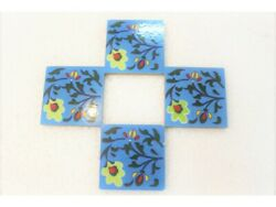 Vintage Floral Ceramic Tile Art Wall Decor Picture Lot Of 4 Hand Painted Tiles