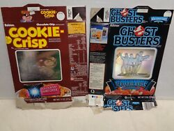 Lot Of 2 Cereal Box Boxes 1986 Ralston Ghostbusters And Cookie Crisp Holograms Old