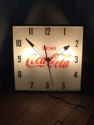 Vintage Pam Drink Coca-cola Lighted Wall Clock 15 X 15 Complete Working Order