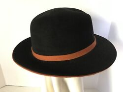 Hermes Hat Dick Tracy Style Fedora Hat Timeless Classic In Black With Orange