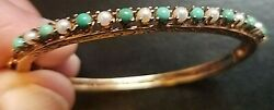 Antique Pearl And Turquoise 14k Gold Bracelet Size 6 1/2