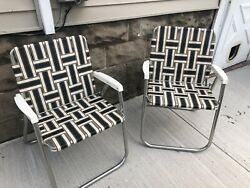 Vintage Aluminum Retro 2 Folding Chairs Lawn Outdoor Webbed Straps Weave