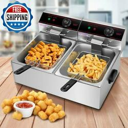 Deep Fryer Dual Electric Countertop Heavy Duty Stainless Steel Commercial Home