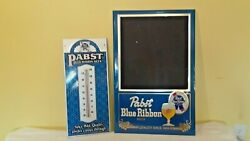 Bundle Deal - Metal Pabst Blue Wall Thermometer And Chalk Board