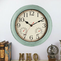 Retro Indoor Outdoor Waterproof Wall Clock with Thermometer and Hygrometer Combo