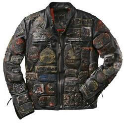 Punk Style Embroidery Patchwork Streetwear Vintage Wax Black Real Leather Jacket