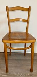 Antique F. Carton Bentwood Blonde Thonet Pressed Seat Cafe Dining Chair Rare