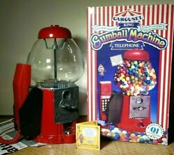 Vintage 1987 King Carousel Gumball Machine Phone And Bank - Works