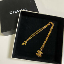 Necklace Vintage Quilted Gold Coco Mark W2.3×h2 Total Length 55cm W/ Box
