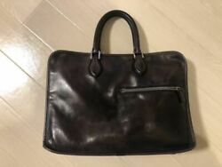 Berluti Briefcase Early Model Business Bag Dark Brown Leather Pc Case Men's Auth