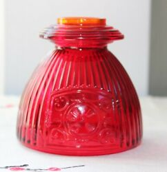 Top Only Viking Glass Ruby Red/orange Pot Belly Stove Fairy Lamp Candle Holder
