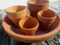 Terra Cotta Pots In Saucer 4 Different Size Pots In 6 1/2 Saucer Used Planting