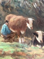 Pieter Adrianus Bouter Original Oil Painting Of Cows In Field Dutch Country