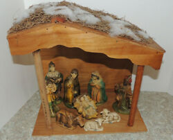 Vintage Nativity Set 9 Figures With Manger Made In Japan Mid-century