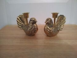 Pair Of Solid Brass Bird Candle Holders, 4 Tall