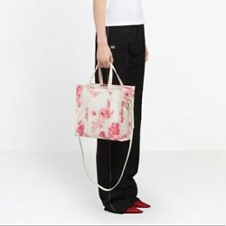 Balenciaga Bazar Shopper Silk And Leather Tote Bag Pink White Floral 1650 Msrp