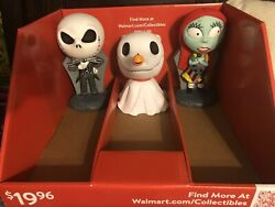 The Nightmare Before Christmas Lot Of 3 Figures Jack,sally And Zero Coin Bank