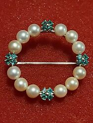 Vintage 14k Yellow Gold And Green Emerald And Pearl Brooch / Hat Pin 7.8g