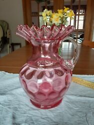 Fenton Hand Blown Coin Dot Cranberry 9 In. Pitcher With Famous Fenton Ruffle .