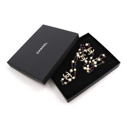 Long Necklace Cc Logo Costume Pearls Beads Gold Multicolor B13a With Box