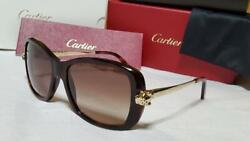 Luxury Panther Metal Sunglasses Brown Gold Leopard Print Authentic