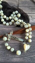 Antique Victorian Large French Silver 800 Mother Of Pearl Mop Beads Rosary 19th