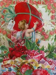 Victorian Die Cut Stand Up Fold Out Valentines Day Card. Germany. Angel B3