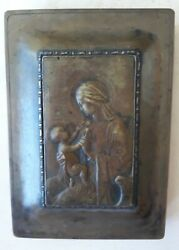 Rare Potter Studio Arts And Crafts Brass Humidor With Madonna And Child Plaque